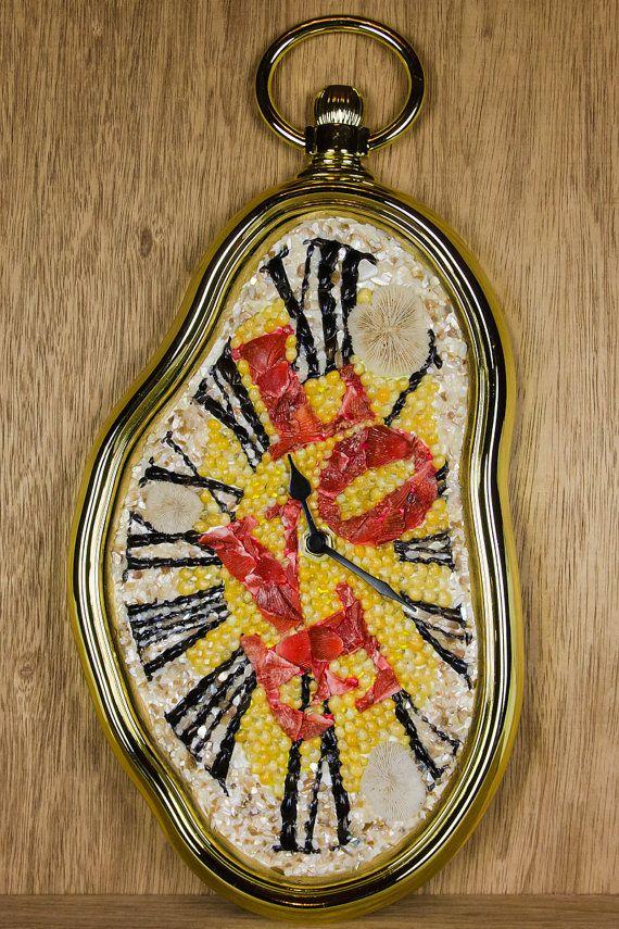 Artistic handmade wall clock love melting design with for Seashell wall clock