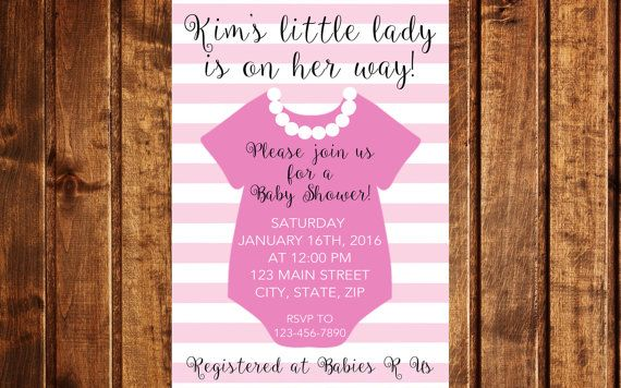 Pink and Pearls Baby Shower Invitation by LittleGermanBoutique