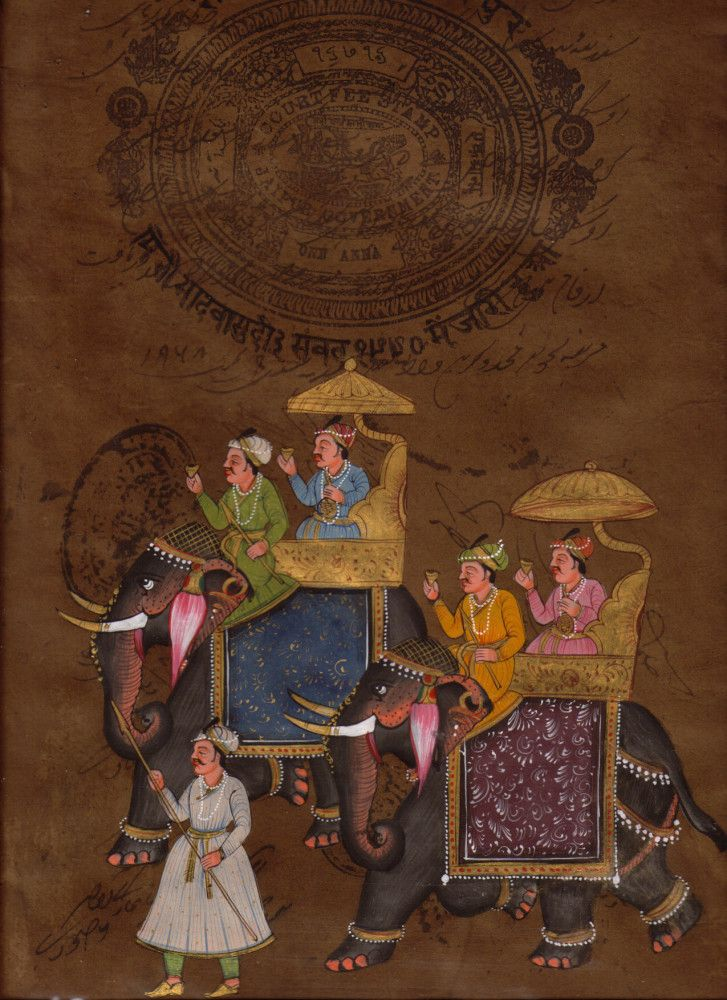 miniature painting Rajastan, Indian Rajput Folk Ethnic Art, Old Royal Stamp paper