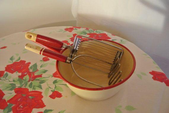 Vintage Enamelware Saucepan Slicer and Masher by RiversideMills, $34.95