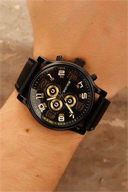 Siyah Deri Kordon Sarı İç Tasarım Erkek Saat