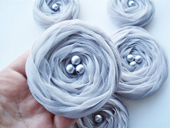 Silver Grey Chiffon Roses Handmade Appliques by BizimSupplies