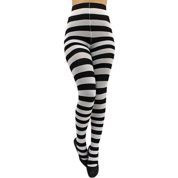 Black White Horizontal Striped Tights ($9.99) ❤ liked on Polyvore featuring intimates, hosiery, tights, black and white tights, elastic stockings, black white striped tights, horizontal striped tights and stripe tights