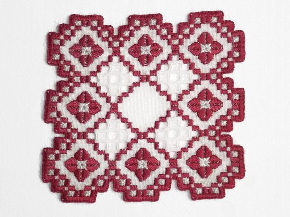 Hardanger+Doily+Hardanger+Embroidery+Square+Red+White+by+NordicAnn,+$22.00