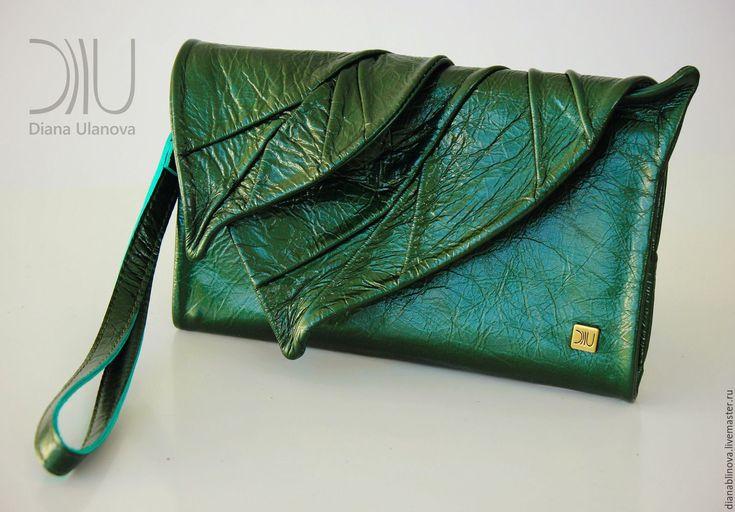 """Купить Кошелек """"Лист макси"""" разные - разноцветный, однотонный, зеленая сумка, бохо-стиль"""