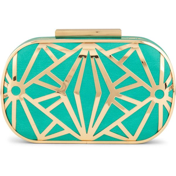 ALDO Dorounia ($40) ❤ liked on Polyvore featuring bags, handbags, clutches, purses, turquoise, gold, cocktail purse, evening purse, evening clutches and green clutches