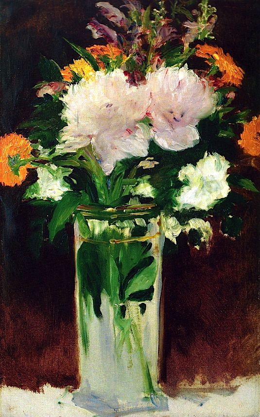 Flowers in a Vase, 1882. Edouard Manet (1832 -1883) painted these flowers one year before he died and they are much less realistic than previous flowers you'll find on this board. They show type brushwork used more by impressionists.