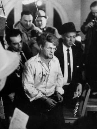 Teen-Age Murderer Charles Starkweather Walking into State Penitentiary