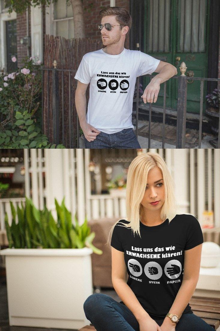 Damen und Herren T-Shirt Schere, Stein, Papier - Lass uns das wie ERWACHSENE klären! Für Alle die keinen Streit aus dem Weg gehen können. Weitere coole und lustige Shirts für Männer und Frauen sind im Shop erhältlich.