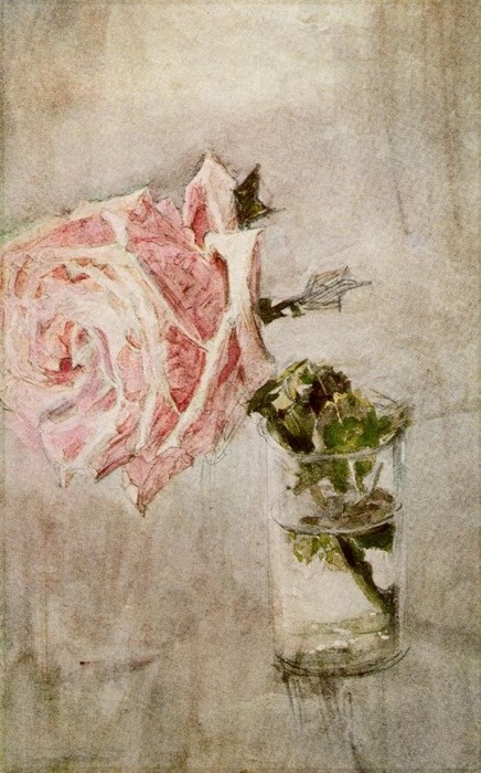 "Mikhail Aleksandrovitch Vrubel  ""Rose in a Glass""    (via aunaturalflowers)"