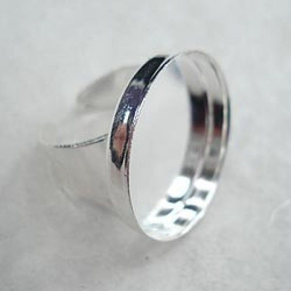 25mm Round 3.5mm Deep Silver Plated Adjustable Ring Settings