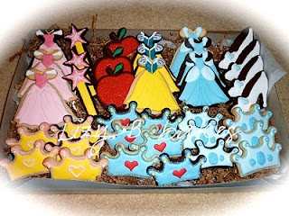 DISNEY PRINCESS COOKIES!   oooh- I just bought that dress cookie cutter :)
