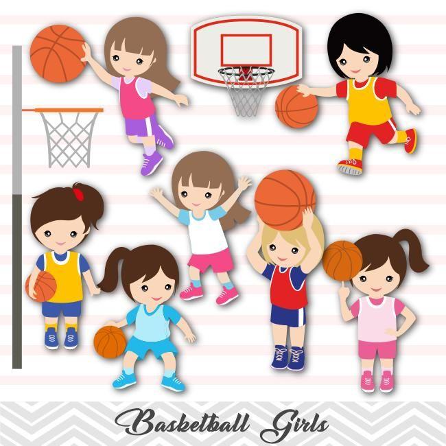Girls Basketball Digital Clip Art Sport Girls Basketball Team Clipart 00258 Clip Art Digital Clip Art Basketball Clipart
