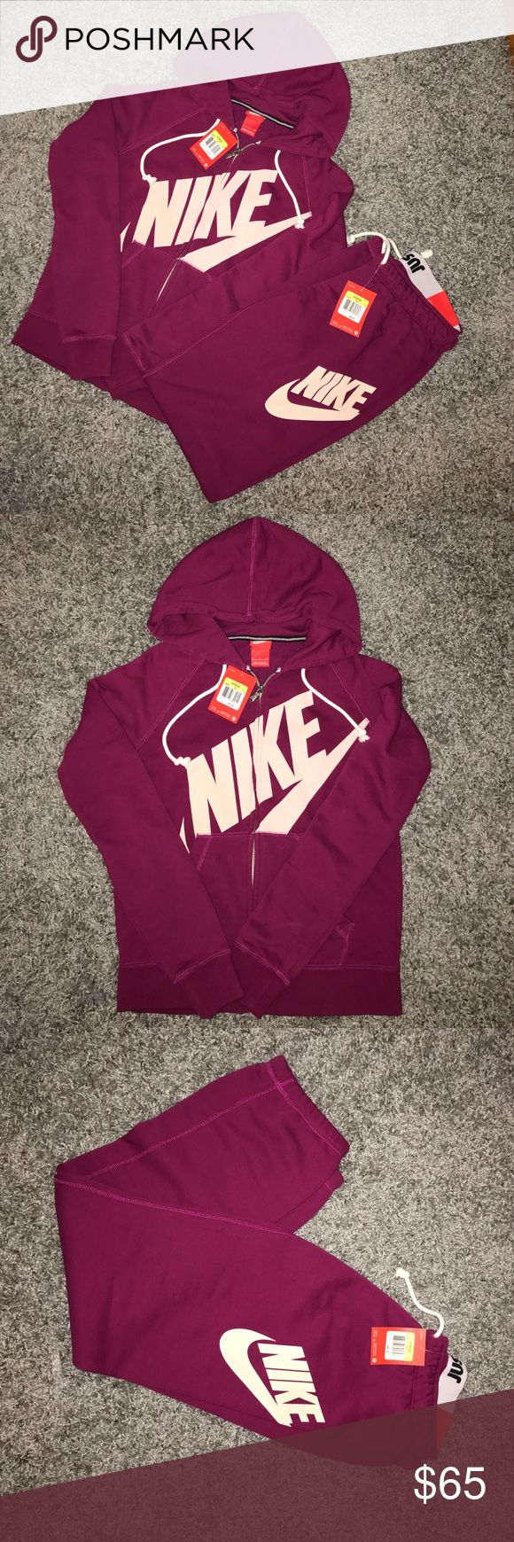 Nike sweat suit Maroon 2 piece Nike sweatsuit. Zip up hoodies bottoms are elastic jaw string waist with ankle synching. Hoodies is $70 and bottoms are $50 retail. NWT. All reasonable offers considered Nike Pants Track Pants & Joggers