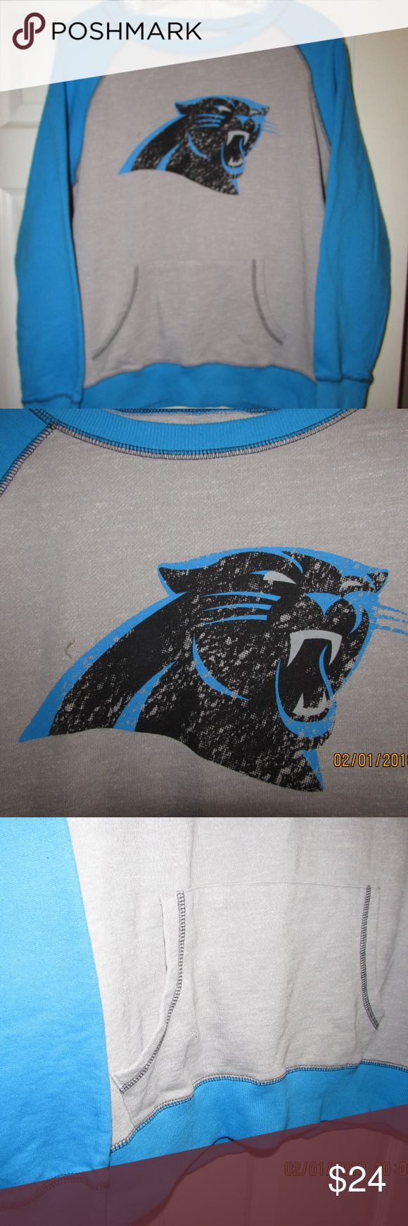 Carolina Panthers NFL Majestic XL Sweater EUC Very Nice Distressed Carolina Panthers NFL Majestic XL Sweater, with 2 front pockets. Excellent Used Condition EUC Majestic Jackets & Coats Lightweight & Shirt Jackets