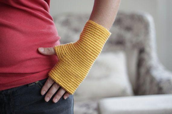 Yellow Fingerless Gloves Fingerless mittens crochet by SENNURSASA, $17 with coupon