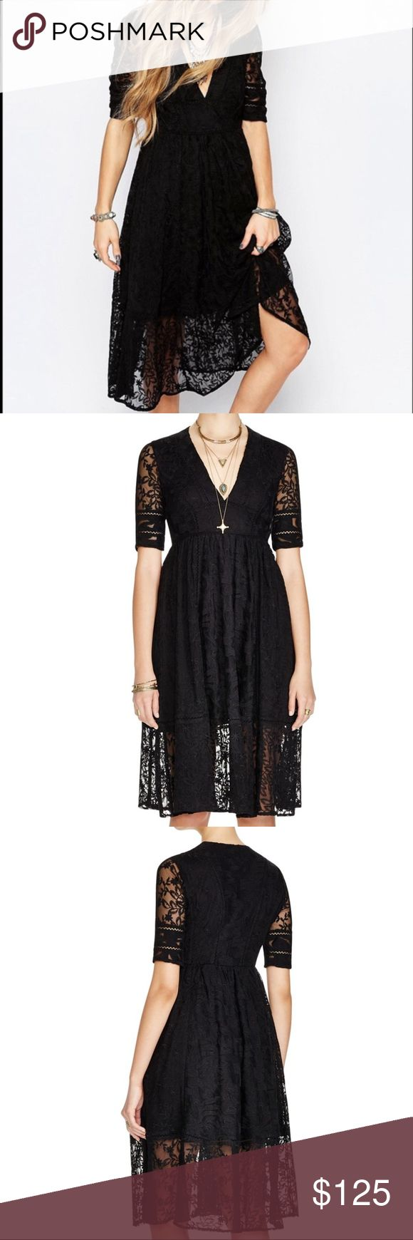 FREE PEOPLE MOUNTAIN LAUREL DRESS Lace crochet midi dress featuring a V-neckline and short sleeves.  This A-line silhouette has a flowy skirt and a sheer lace hem.  Lined.  Care/Import  Hand Wash Cold  Import Free People Dresses Midi