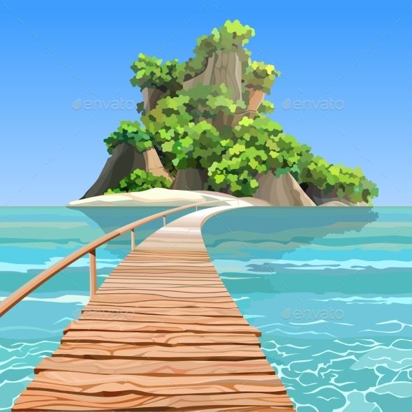 Cartoon Tropical Island With A Pier In Turquoise Sea Animasi