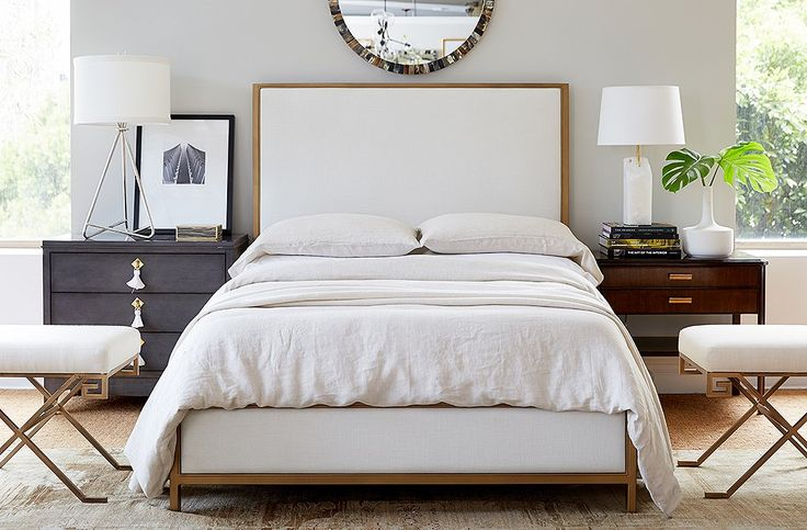 "Alex chose this upholstered bed for its ""great brass lines"" and topped it with breezy Matteo linens. ""Even though it's more clean-lined, it's still relaxed but layered,"" he says."