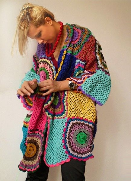 One of the most coveted garments from Sub Rosa!  This bright, colorful hand crocheted cardigan is hip and fun to wear, a guaranteed head-turner.    Th