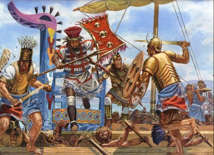 Naval engagement on the Lokris coast.  1-2 Lokris warriors, 3 Sea-people warrior and 4 Ahhiyawa, Sea-people officer