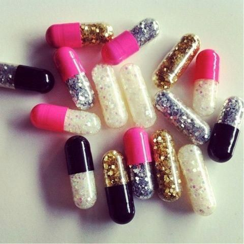 Glitter emergency pills. Bad day? Open a pill, throw glitter around. I need these in my life....