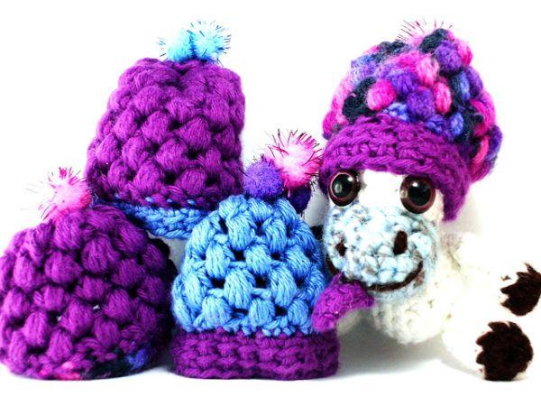 """Beanie im Miniformat, kostenlose Häkelanleitung, pattern crochet free, Beanie häkeln für die freche kleine Kuh """"Mucca"""""""