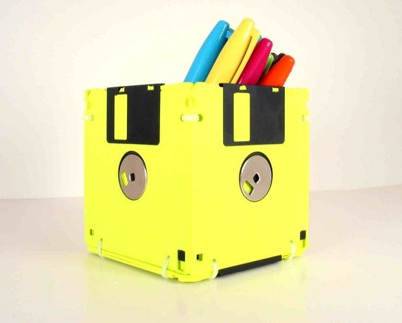Floppy Disk Pen and Pencil Holder Fluorescent Yellow by GeekGear