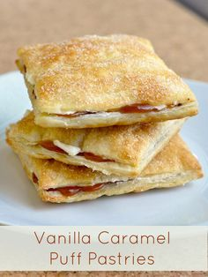 Vanilla Caramel Pastries a.k.a. Caramel Flakies - a copycat version of the classic Canadian snack cake from Vachon. Easy to make using frozen puff pastry. A perfect hand haled dessert for your Super Bowl Party.
