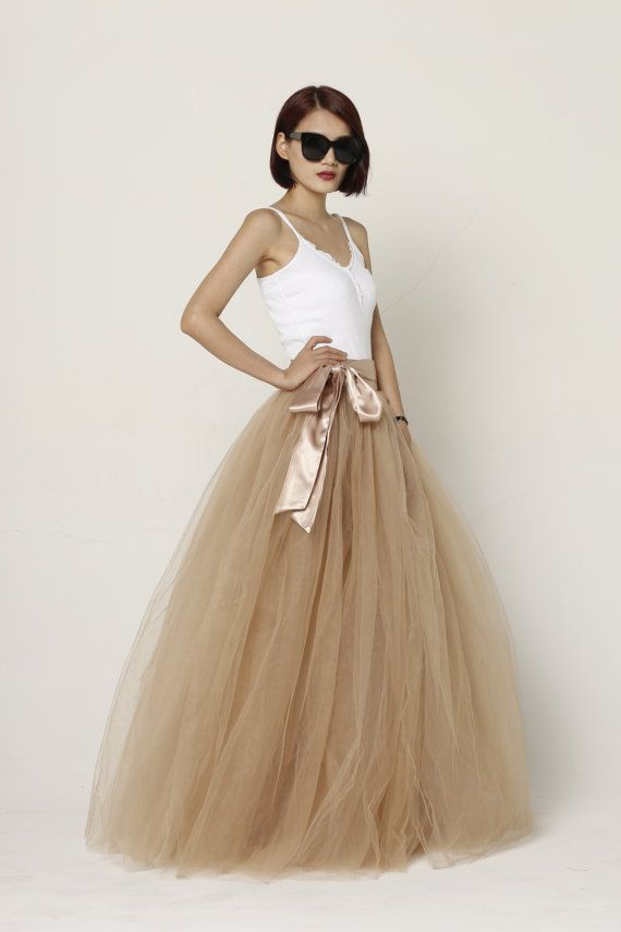 Tulle Skirt Floor length Tutu Skirt Fixed Waist tulle tutu Princess Skirt Wedding Skirt in Nude - NC571