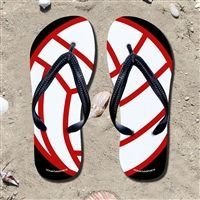 Volleyball Ball on Red/Black Flip Flops - Kick back after a volleyball game with these great flip flops! Fun and functional flip flops for all volleyball players and fans.