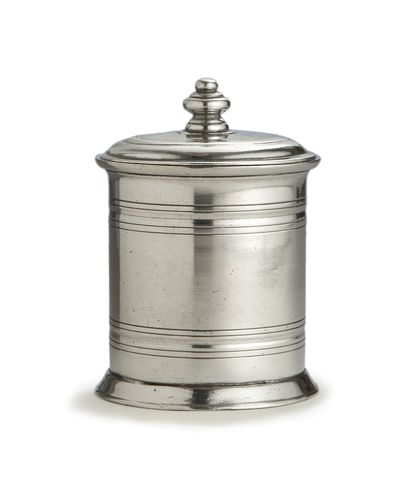 Roma Small Pewter Canister - Sized to hold cotton swaps on the counter of an elegant, stylish European-inspired bathroom, this Italian pewter vanity jar offers a lidded canister for myriad small necessities of the vanity table. Restrained, symmetrical styling coordinates with any chic décor style, but makes a particularly apt addition to the collections of those who appreciate the quiet beauty of traditionally-made pewter. Shallow rings streamline the vessel's shape.