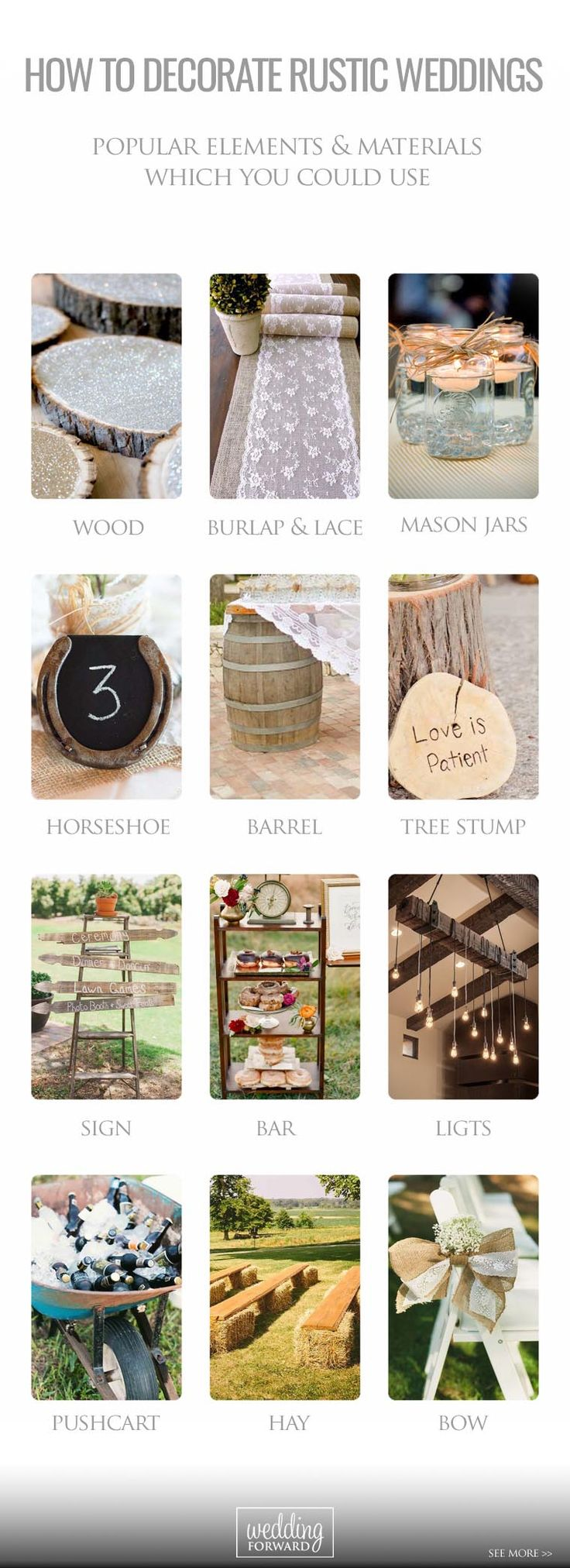 27 Perfect Rustic Wedding Ideas  ❤ Do a research with us and see our gallery of rustic wedding ideas!  See more: http://www.weddingforward.com/rustic-wedding-ideas/ #wedding #decorations