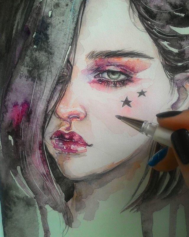 Супербыстрый🌒🌌💫✳ #скетч #наколенныезарисовки #рисунок #drawings #painting #watercolor #акварель #dark #fastsketch #fashionillustration