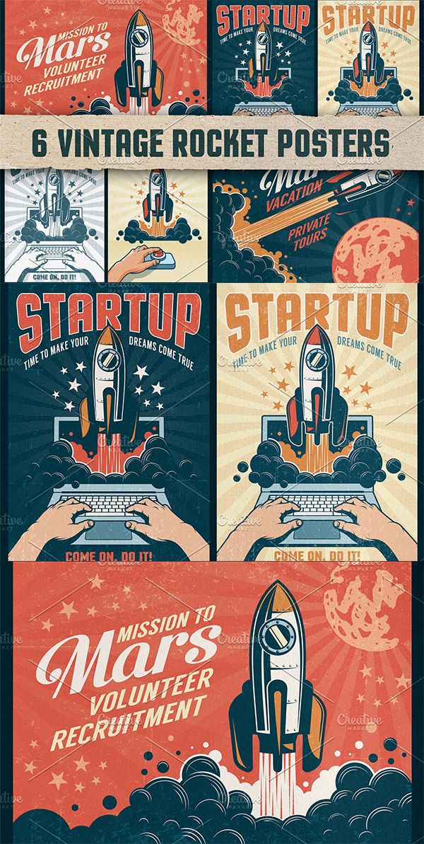 6 Vintage Rocket Posters In 2020 Poster Template Vintage Rockets Vintage Posters