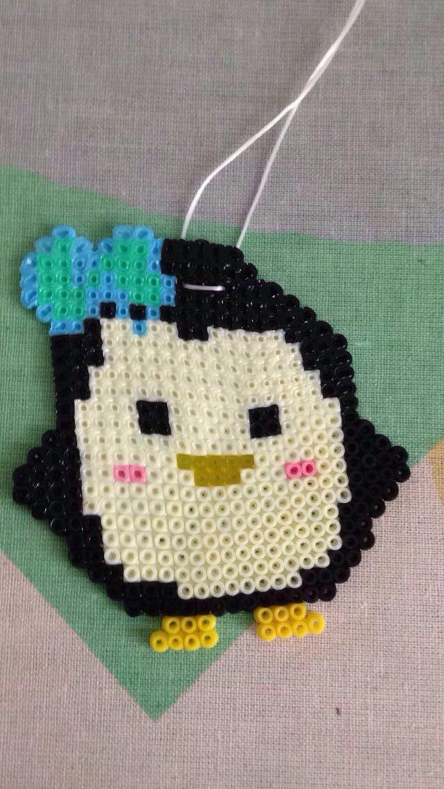 Miniperler pingvin lavet til halskæde