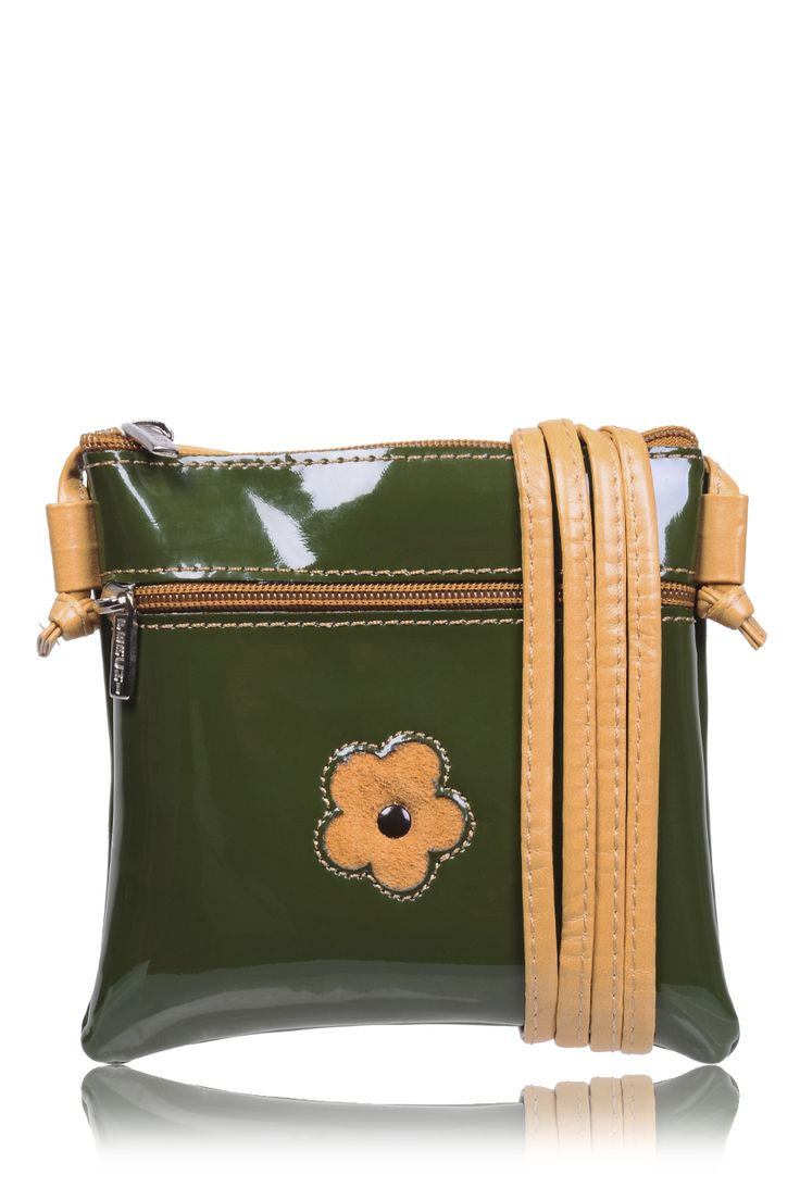 #FERCHI 	 MINI DAISY Olive Patent Crossbody Bag   Price: € 33.00