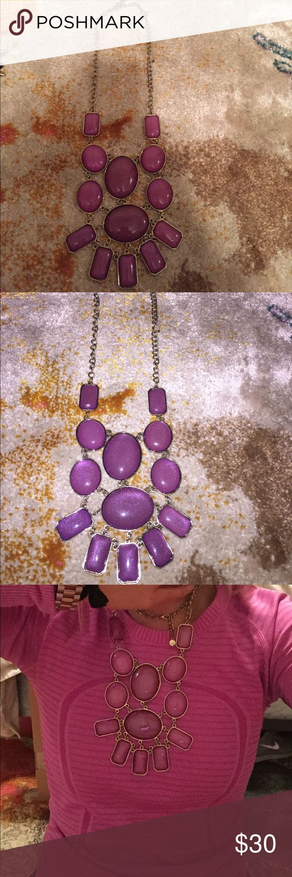 Purple/fuchsia statement necklace Real life photos above. Make an offer! Jewelry Necklaces