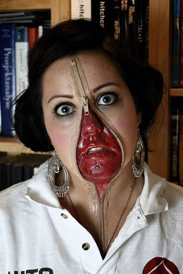 Unzip your face for a bloody reveal.   27 Disgustingly Awesome Ways To Take Halloween To The Next Level