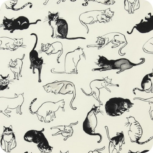 Indochine | Nora Neko Tea Black - A COOL cat fabric at Lark Fabrics.  Lots of beautiful stuff there......