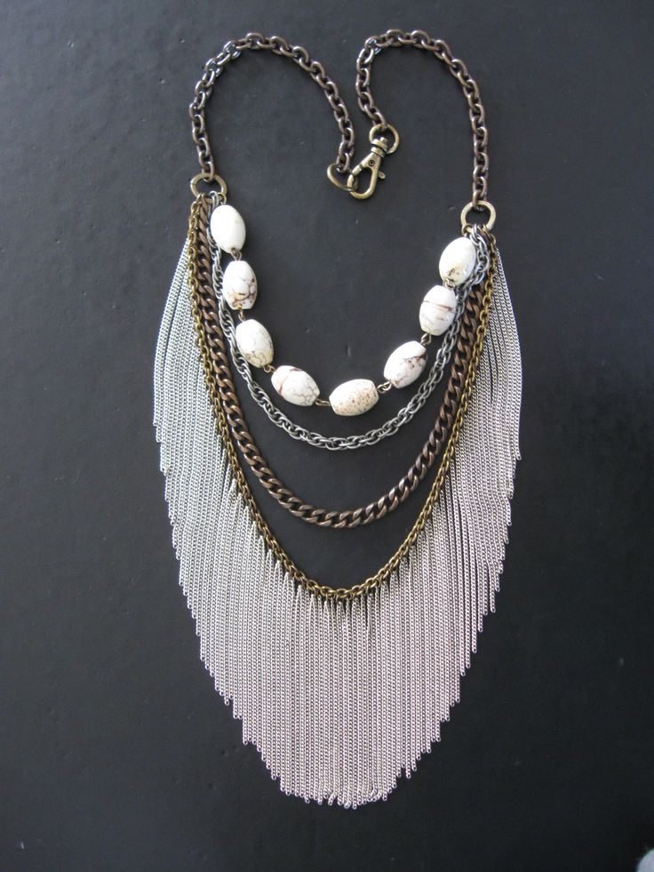Chain Fringe and Stone Statement Necklace - Mixed Metal - Urban Tribal Fashion. $148.00, via Etsy.