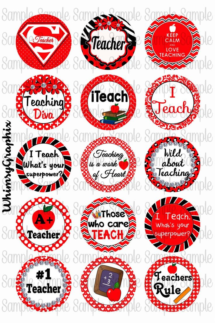 Teacher Red digital bottle cap images 1 inch round by WhimsyGraphix on Etsy