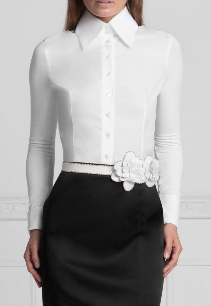 Anne Fontaine FITTED TAILORED T-BLOUSE T-Blouse made with jersey cotton and pima cotton + Amelie Vernis Patent Leatherbelt
