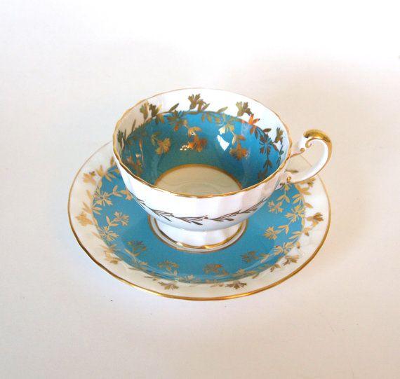 Vintage Aynsley Teal blau und Gold Fine Bone China Teetasse und Untertasse - ca. 1930er Jahre England