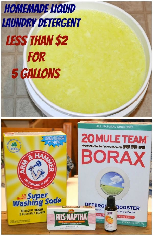 The BEST homemade laundry detergent! It's super affordable, extremely gentle on sensitive skin, HE washer safe, & I've done side by side stain tests & this version removes the stains better than store-bought. This recipe is not like the other recipes you've seen, it was developed over time with many tests until a perfect detergent came out of it!