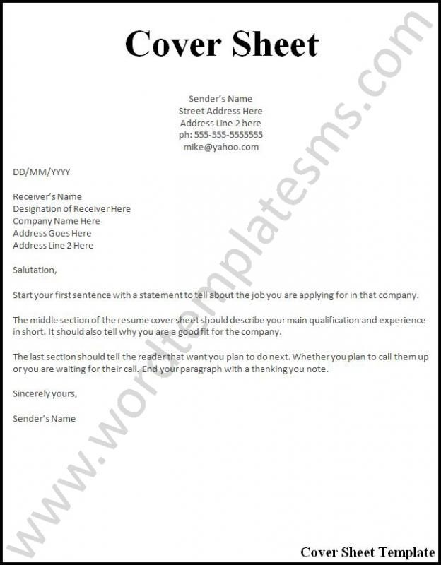 Simple Resume Cover Letter Examples template Pinterest Resume - resume cover sheet example