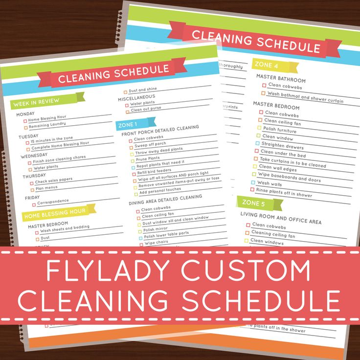Laminated Flylady Custom Cleaning Schedule by HelloAshleyann