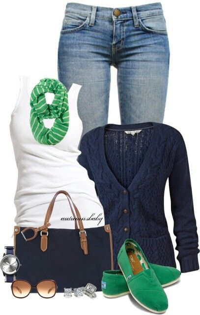 I can totally see myself in this, in fact it makes me want to go out right away and get green Toms :)  It;s my style and I love the pop of color with the green