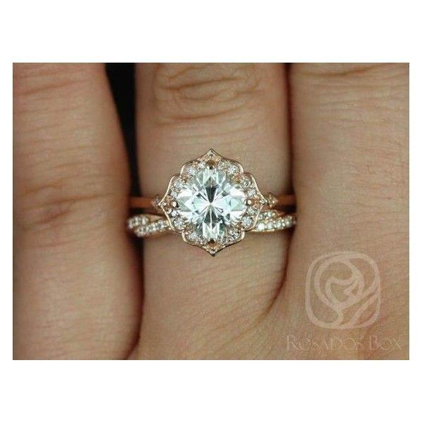 Lily 7mm Twyla 14kt Rose Gold Cushion FB Moissanite and Diamond Kite... ❤ liked on Polyvore featuring jewelry, rings, vintage style rings, vintage style wedding rings, rose gold wedding rings, rose gold ring and diamond rings