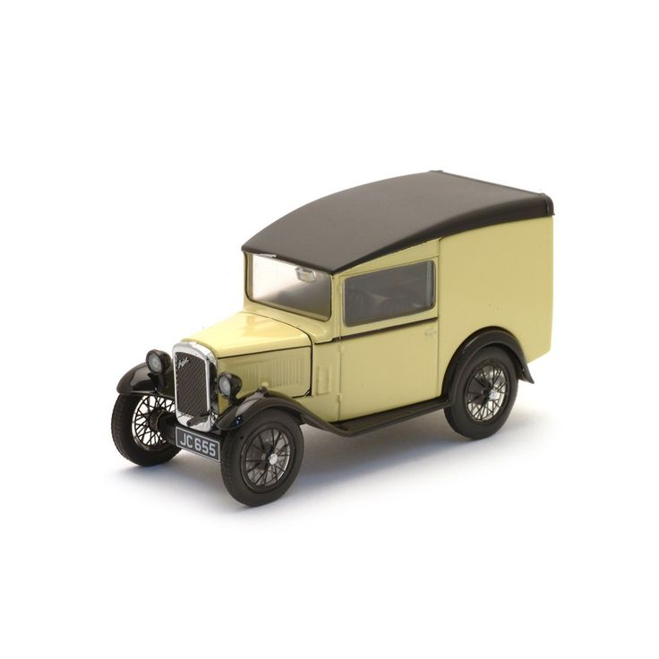 1:43 Scale Austin Seven Van.The brainchild of Herbert Austin, who - contrary to the advice of his peers - pursued his idea of moderately priced people's car, which proved immensely popular. A commercial version was later produced and this newly-tooled replica in primrose is typical of the livery in its 1920s - '30s heyday.